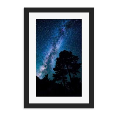 Galaxy Silhouette Black Framed Wall Art Print