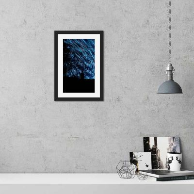 Star Spiral Silhouette Black Framed Wall Art Print