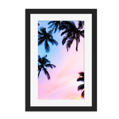 Tropical Silhouette Black Framed Wall Art Print