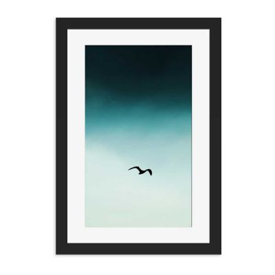 Blue Seagull Silhouette Black Framed Wall Art Print