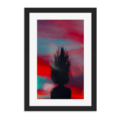 Down Is Up Silhouette Black Framed Wall Art Print