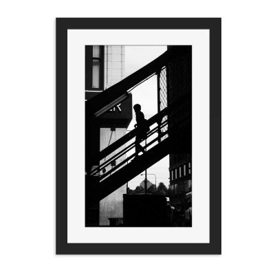 Staircase Silhouette Black Framed Wall Art Print