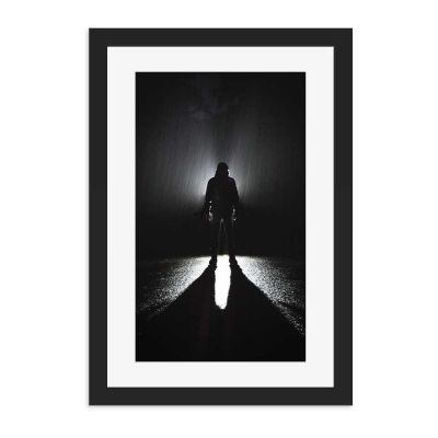 Rainy Night Silhouette Black Framed Wall Art Print