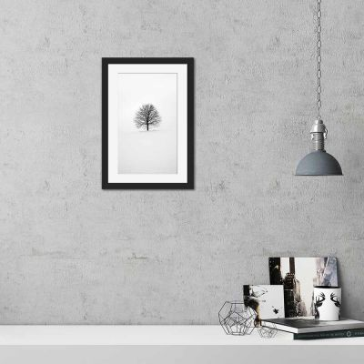 Tree Silhouette Black And White Black Framed Wall Art Print