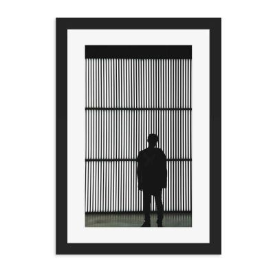 Grid Lights Black And White Black Framed Wall Art Print