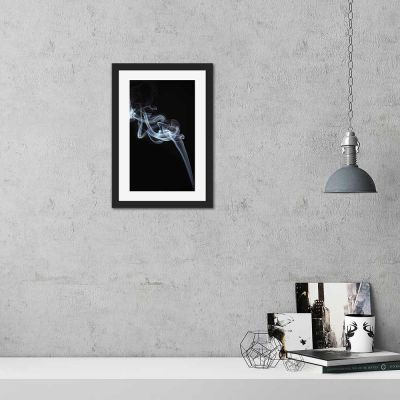 Smoke Two Black And White Black Framed Wall Art Print