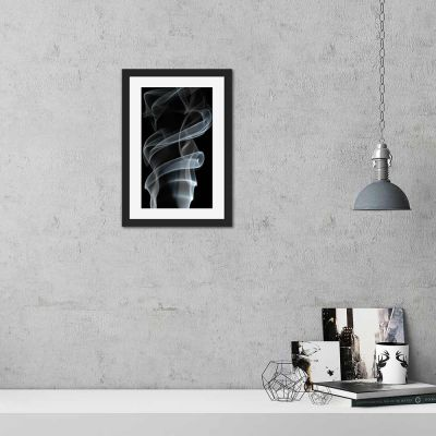 Smoke Three Black And White Black Framed Wall Art Print