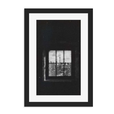 Square View Black And White Black Framed Wall Art Print