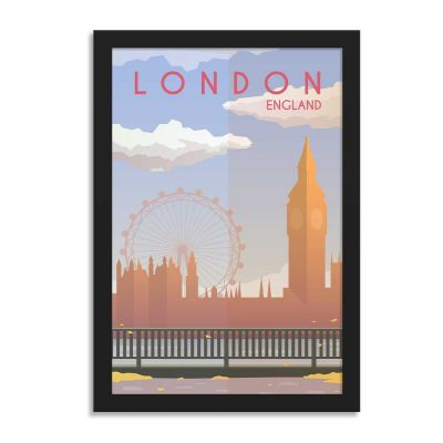 London England Vintage Travel Poster Framed Wall Art