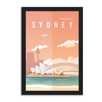 Sydney Australia Vintage Travel Poster Framed Wall Art