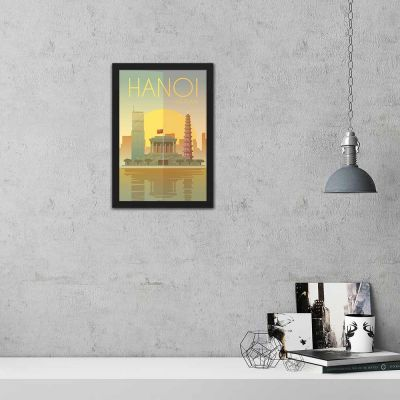Hanoi Vintage Travel Poster Framed Wall Art
