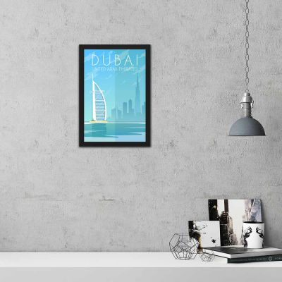 Dubai Vintage Travel Poster Framed Wall Art