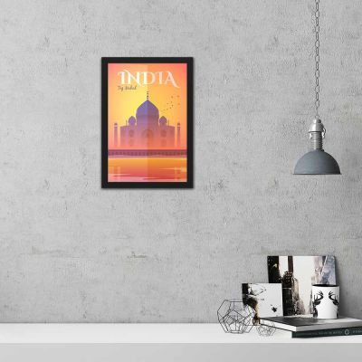 Taj Mahal India Vintage Travel Poster Framed Wall Art