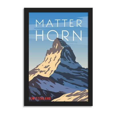 Matter Horn Switzerland Vintage Travel Poster Framed Wall Art