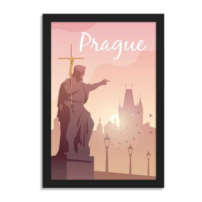 Prague Vintage Travel Poster Framed Wall Art