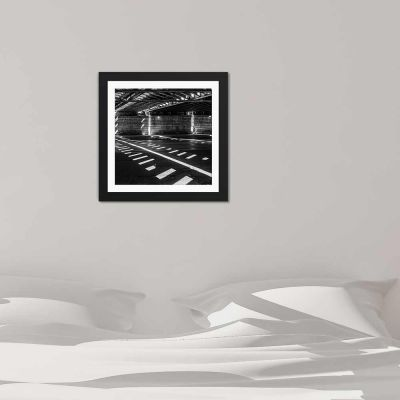 Crosswalk Black And White Black Framed Wall Art Print