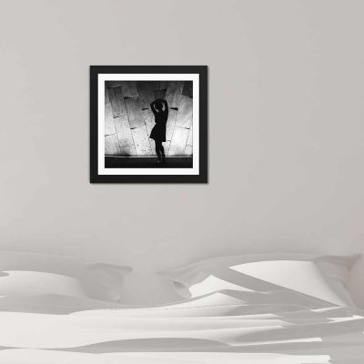 Silhouette Contrast Black And White Black Framed Wall Art Print