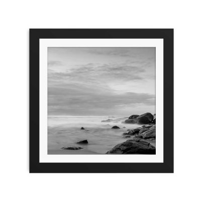 Coastline Black And White Black Framed Wall Art Print