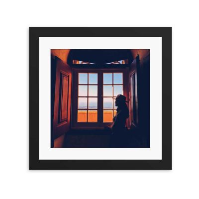 Beach View Silhouette Black Framed Wall Art Print