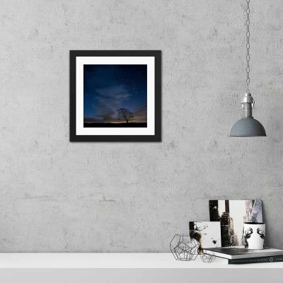 Deep Blue Sky Tree Silhouette Black Framed Wall Art Print
