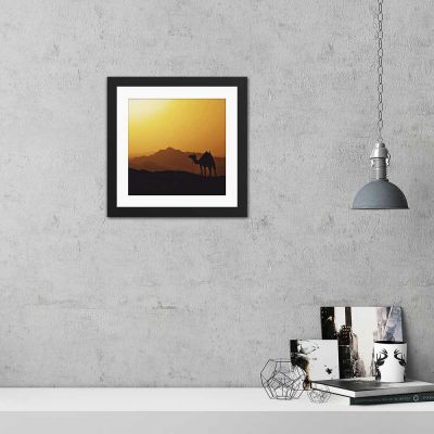 Camel Silhouette Black Framed Wall Art Print