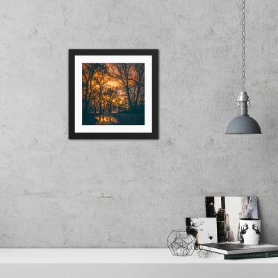 Early Morning Walk Silhouette Black Framed Wall Art Print