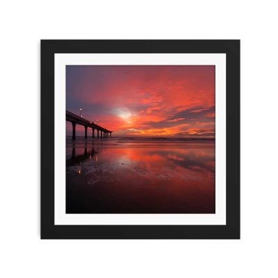 Bridge Under Red Sunset Black Framed Wall Art Print