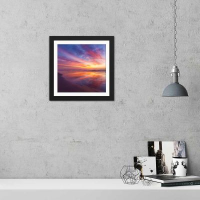Rainbow Sands Sunset Black Framed Wall Art Print