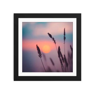 Soft Violet Sunset Black Framed Wall Art Print