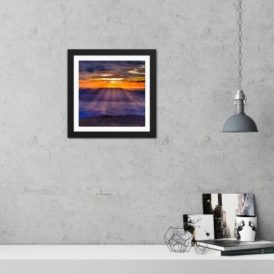 Purple Golden Sunset Black Framed Wall Art Print