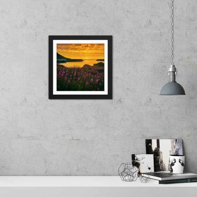 Golden Bay Sunset Black Framed Wall Art Print