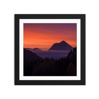 Above The Clouds Sunset Black Framed Wall Art Print