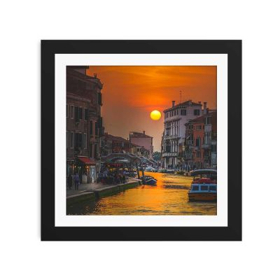 Golden Hour Sunset Black Framed Wall Art Print