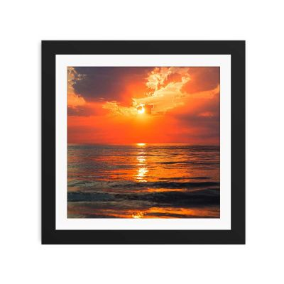 Fire Sky Sunset Black Framed Wall Art Print
