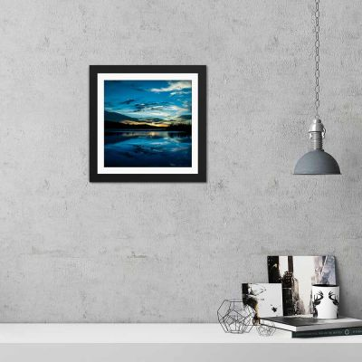 Ice Blue Sunset Black Framed Wall Art Print