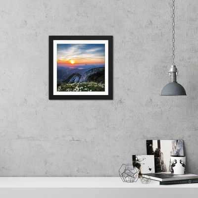 Alpine Valley Sunset Black Framed Wall Art Print
