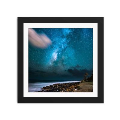 Aqua Blue Sky Black Framed Wall Art Print