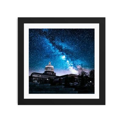 Midnight Blue Night Sky Black Framed Wall Art Print