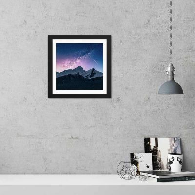 Snow Covered Mountain Night Black Framed Wall Art Print