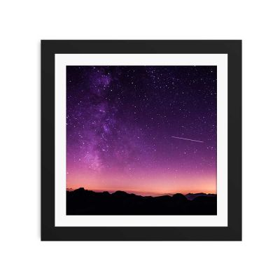 Purple Night Sky Black Framed Wall Art Print