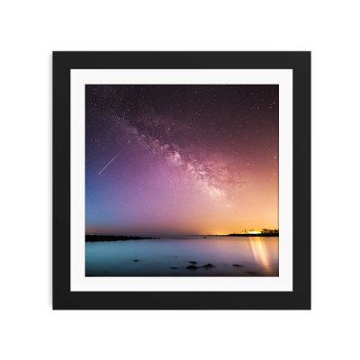 Blue And Pink Night Sky Black Framed Wall Art Print