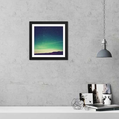Green Night Sky Black Framed Wall Art Print