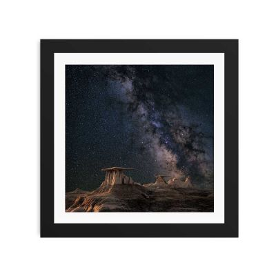 Milkyway Night Sky Black Framed Wall Art Print