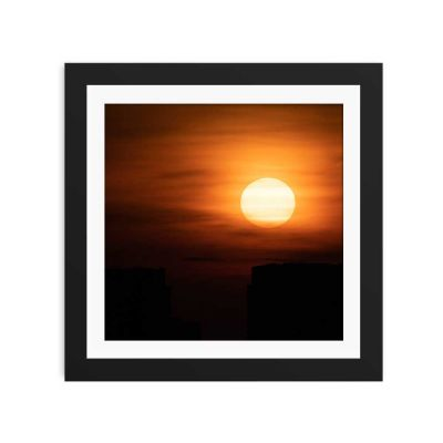 Orange Sunset Black Framed Wall Art Print