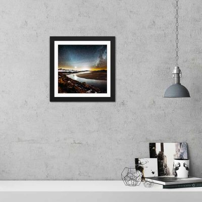 River Under Silver Stars Black Framed Wall Art Print