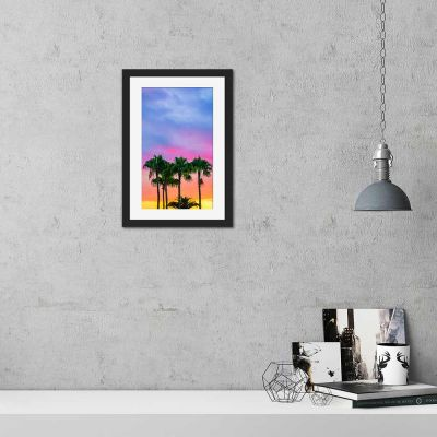 Coconut Sky Black Framed Wall Art Print
