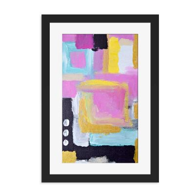 Boxes Of Abstract Black Framed Wall Art Print