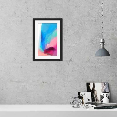 Falling Peacock Abstract Black Framed Wall Art Print