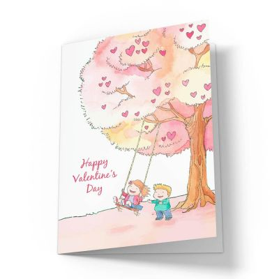 Kids on a Swing Valentines Card