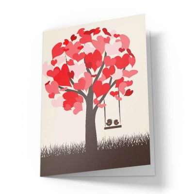 Love Birds Swing On Tree Valentines Card
